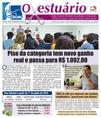 """Última edição do jornal do Sindicato, """"O Vestuário"""". Clique na imagem para ler."""