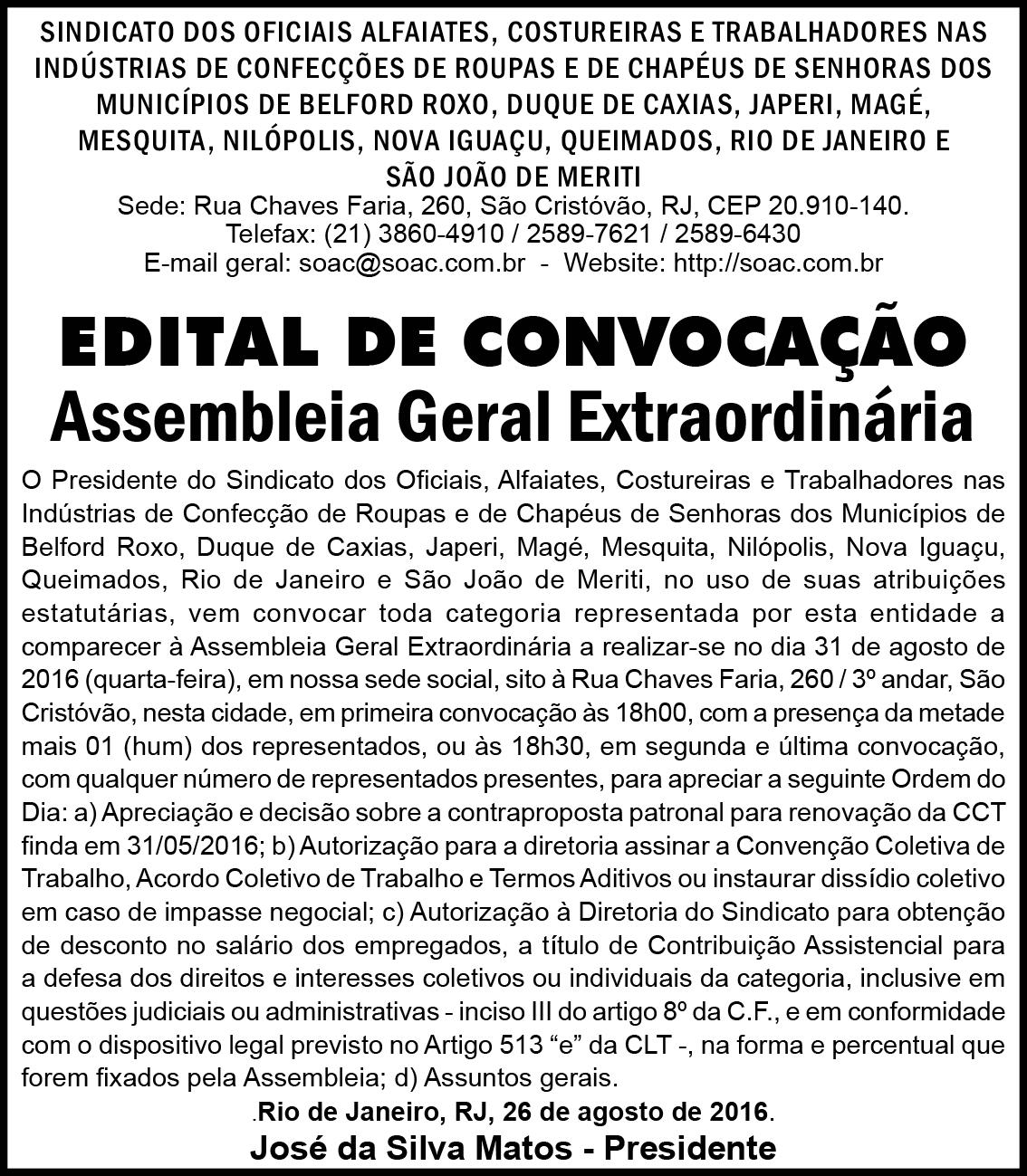 Edital de Convocação: Assembleia Extraordinária dia 31/08