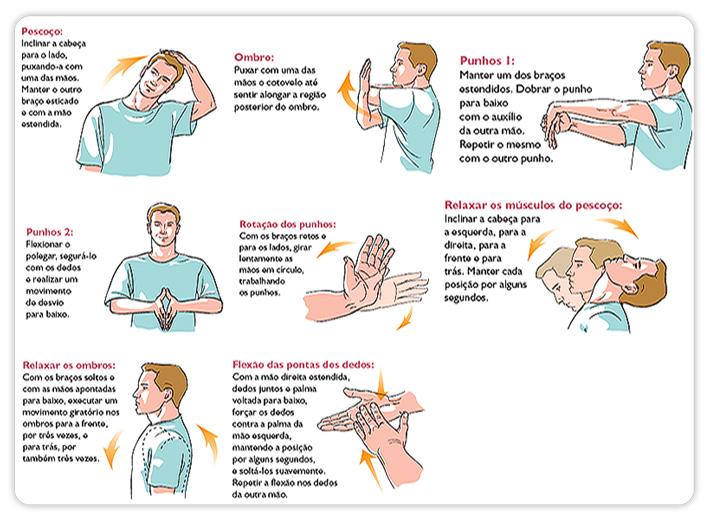 Previna-se da L.E.R.. Faça os exercícios todos os dias. Bastam poucos minutos para você evitar uma doença que incapacita para o trabalho e para várias atividades do dia-a-dia.